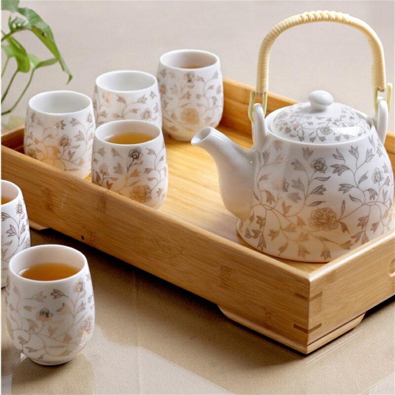 茶具套裝送竹托陶瓷茶具套裝家用整套功夫現代簡約茶壺茶杯子6只裝 娜娜小屋