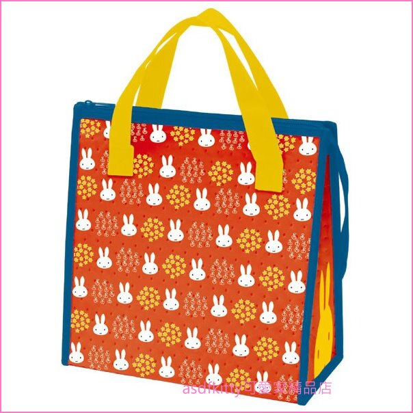 asdfkitty可愛家☆Miffy米飛兔橘色星星輕量保溫便當袋/手提袋/購物袋-也可保冷-日本正版商品