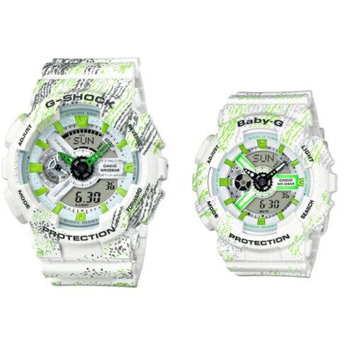 CASIO G-SHOCK/童心趣耀彩運動腕對錶/GA-110TX-7ADR+BA-110TX-7A