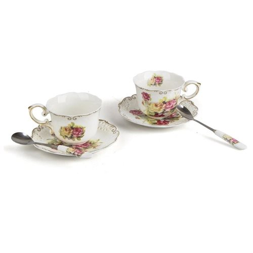 Porcelain Tea Cup and Saucer Coffee Cup Set with Saucer and Spoon, Set of2 bc87dd40e7a2bcab99fb1cc68ef28565