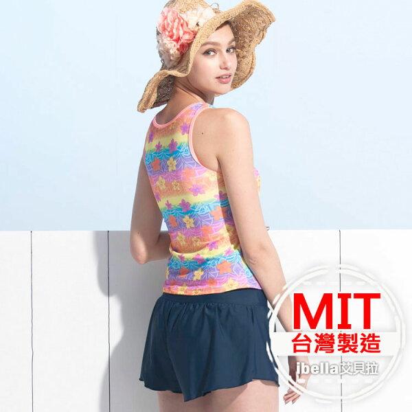 二件式泳裝MIT台灣製造印花泳衣泳褲美國杜邦萊卡【36-66-818122-18】ibella艾貝拉