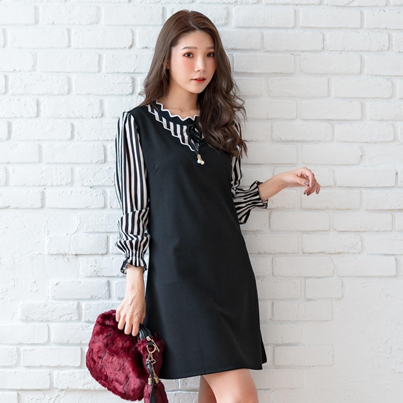 氣質洋裝--優雅撞色波形羅紋珍珠蝴蝶結荷葉A字寬鬆長袖連衣裙(黑L-3L)-A366眼圈熊中大尺碼 0