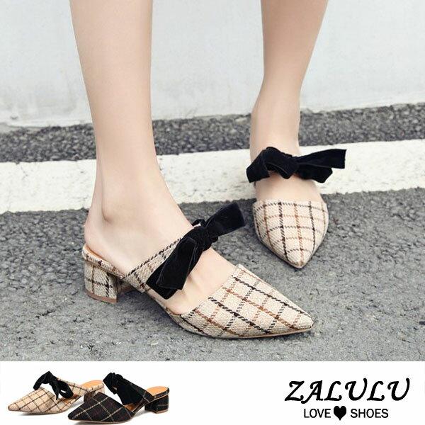 ZALULU愛鞋館7DE013預購韓妞新款格格蝴蝶結平底中跟拖鞋-米白黑-35-39
