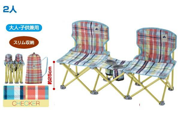 【露營趣】中和 日本 LOGOS LG73170038 愛麗絲格紋雙人野營椅 折疊椅 休閒椅 情人椅 野餐椅