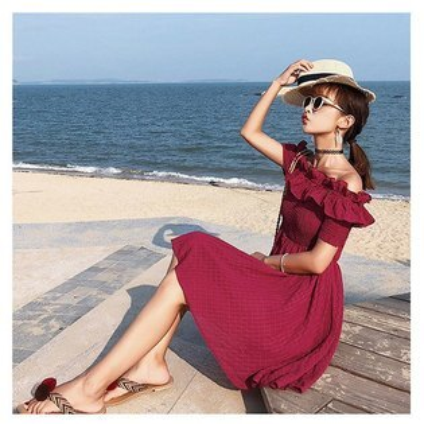 短袖洋裝一字領荷葉邊抓皺鬆緊短袖洋裝連身裙【NDF5023】BOBI0628