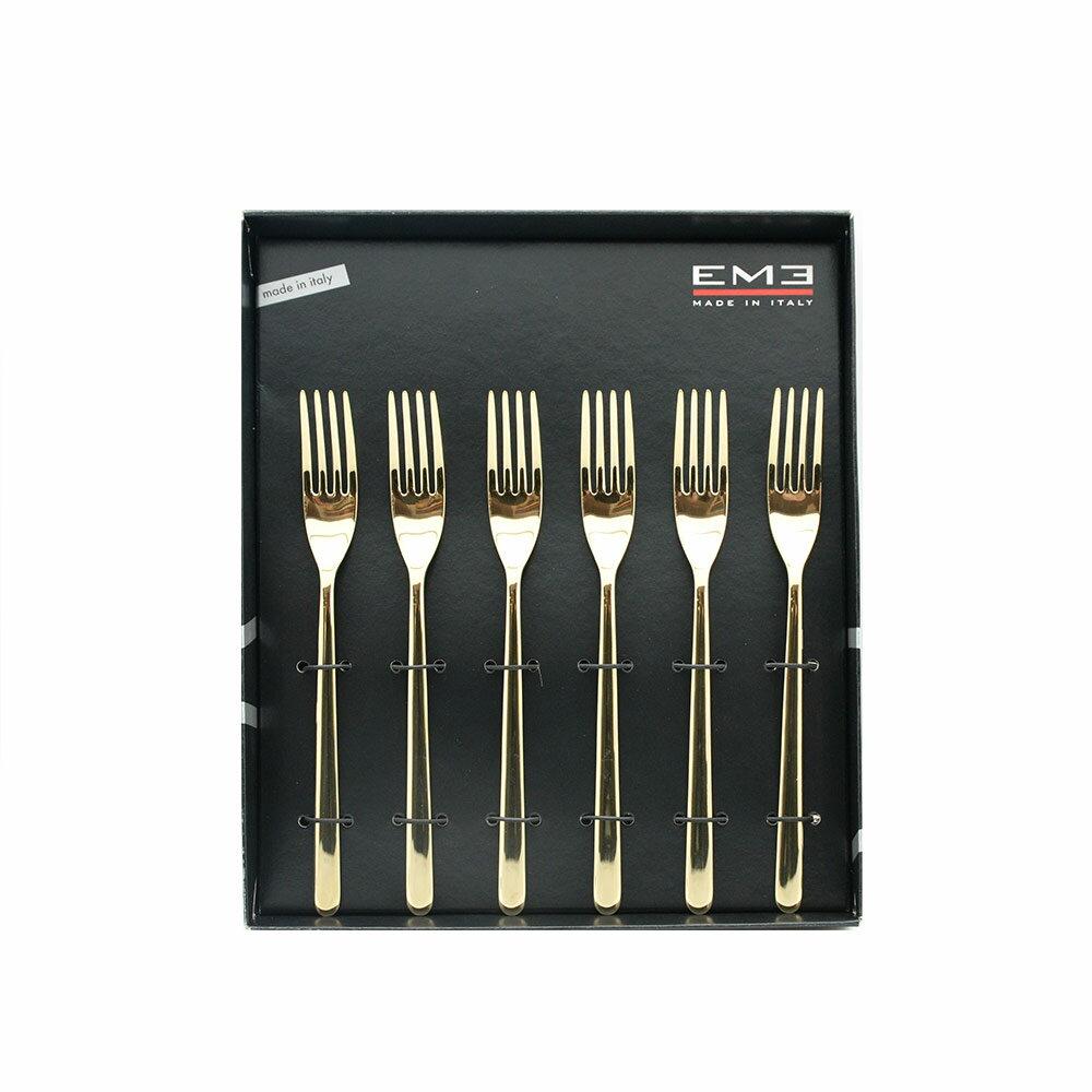義大利 EME 鍍金系列19.5CM點心叉六入組(附原裝彩盒)