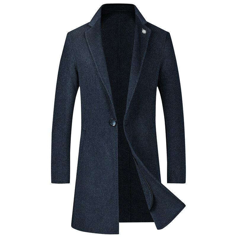 毛呢大衣中長版風衣-羊毛單粒扣純色修身男外套3色73wk32【獨家進口】【米蘭精品】 0