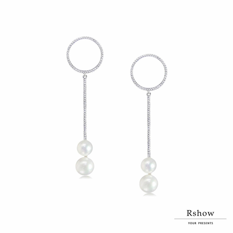 【Rshow】Minimal 幾何珍珠綴圈 垂墜耳環 1