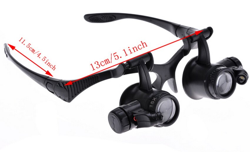 10X 15X 20X 25X Jeweler Watch Repair Magnifying Double Eye Glasses Loupe Lens LED Light 3