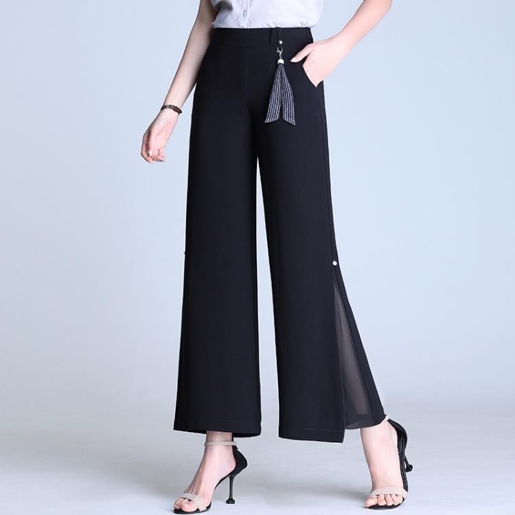 2021新款洋氣開叉雪紡寬管褲女夏薄款九分高腰垂感顯瘦寬鬆直筒褲 凡卡時尚