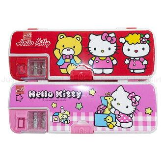 HELLO KITTY 鉛筆盒 多功能鉛筆盒 雙層 筆削器 削鉛筆 文具 正版日本授權 * JustGirl *