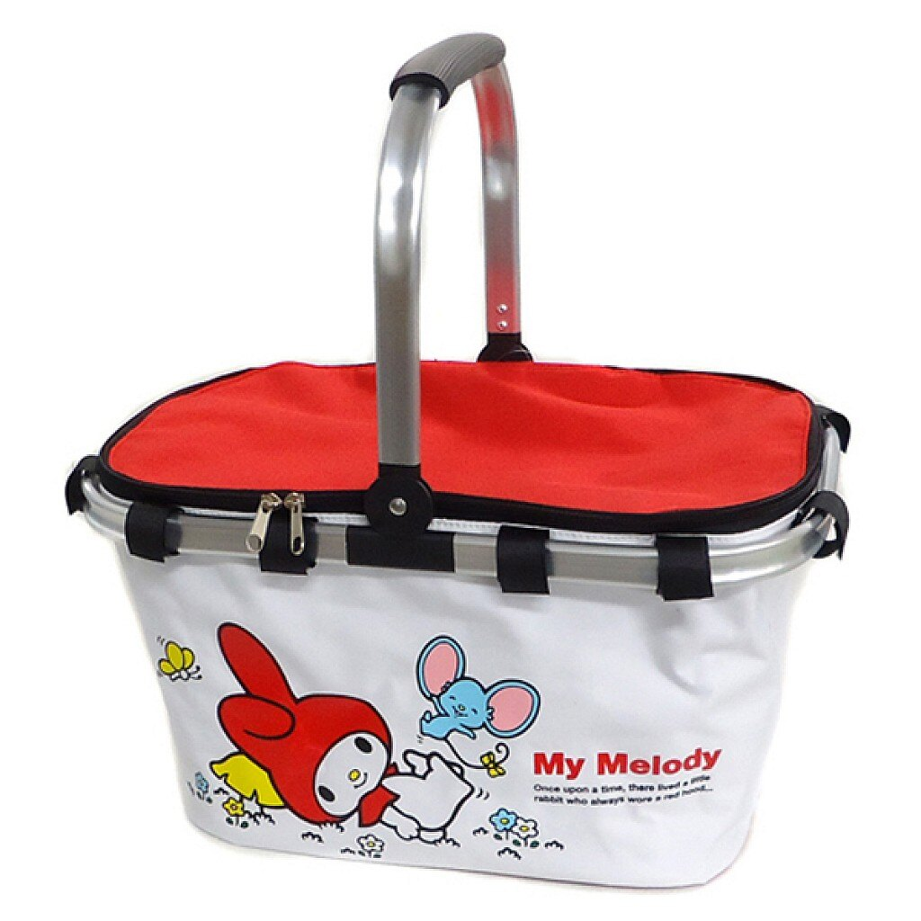 X射線【C010004】美樂蒂Melody 紅白野餐提籃景品,保冷野餐袋/野餐籃/野餐墊/旅行收納包/露營