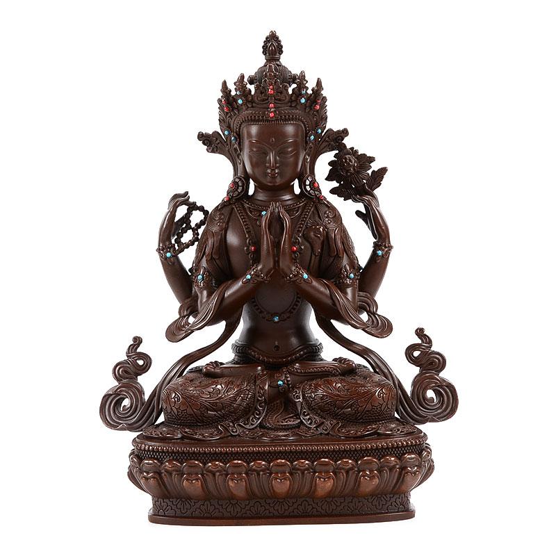 歐斯特 四臂觀音佛像 西藏佛具純銅仿古居家供奉佛堂觀音菩薩擺件