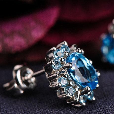 時尚飾品銀耳飾鑲嵌托帕石女款耳釘