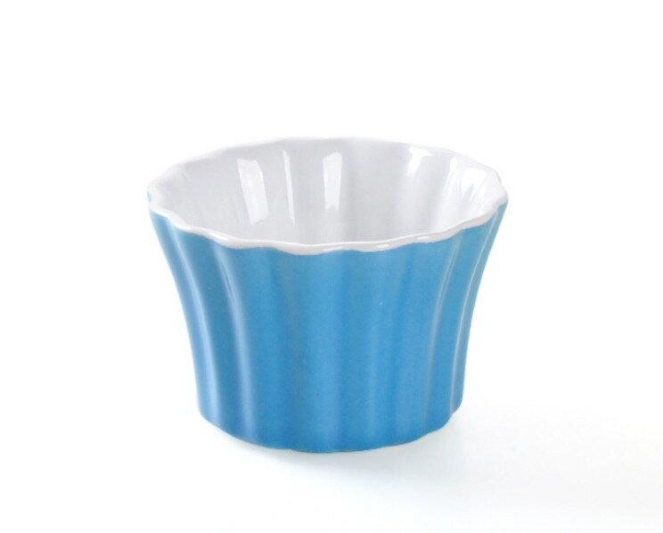 HOMA 彩色廚房  條紋向口彩色烤盅 無鉛無毒 陶瓷烤杯  舒芙蕾烤盅 藍色一個  母親節禮物首選