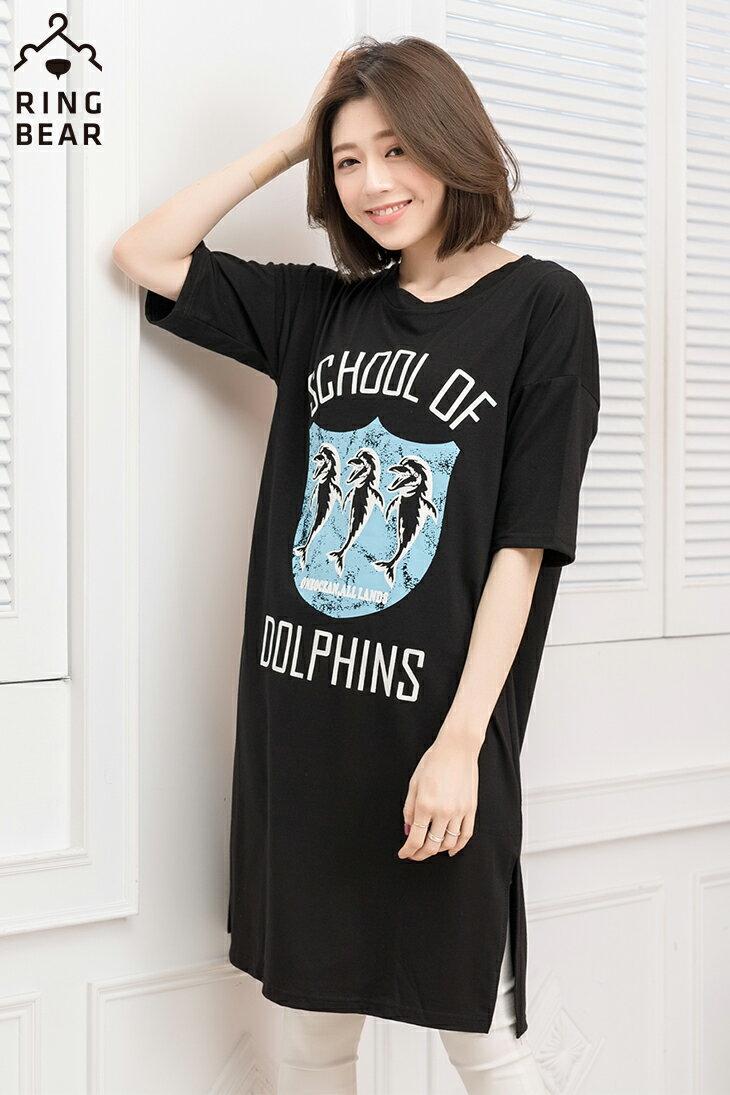 中大尺碼--率性風格可愛海豚學校印圖五分袖寬鬆版型休閒長洋裝(黑.白XL-3L)-D278眼圈熊中大尺碼 3