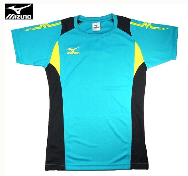 MIZUNO美津濃排球衣(水綠黑)練習衣抗UV快速排汗速乾V2TA6G1632【胖媛的店】