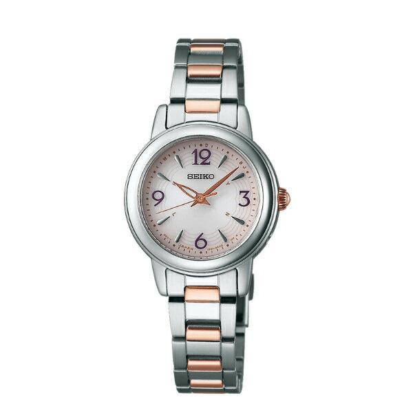 Seiko Vivace 1B21-0AD0KS(SWFH019J)雙色簡約優雅太陽能電波腕錶/粉紅面26mm
