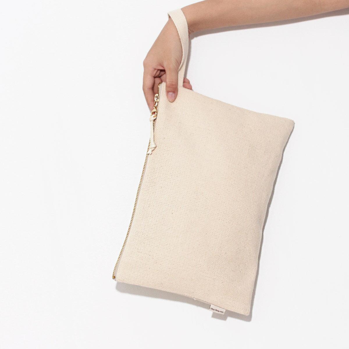 [A4手拿包-原色腕帶] 拉鍊袋/帆布包/Eco包/手拿包/上課包/1day1bag