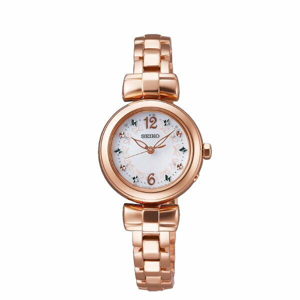 SeikoVivace1B21-0AK0G(SWFH044J)歡慶耶誕太陽能電波腕錶粉紅面25mm