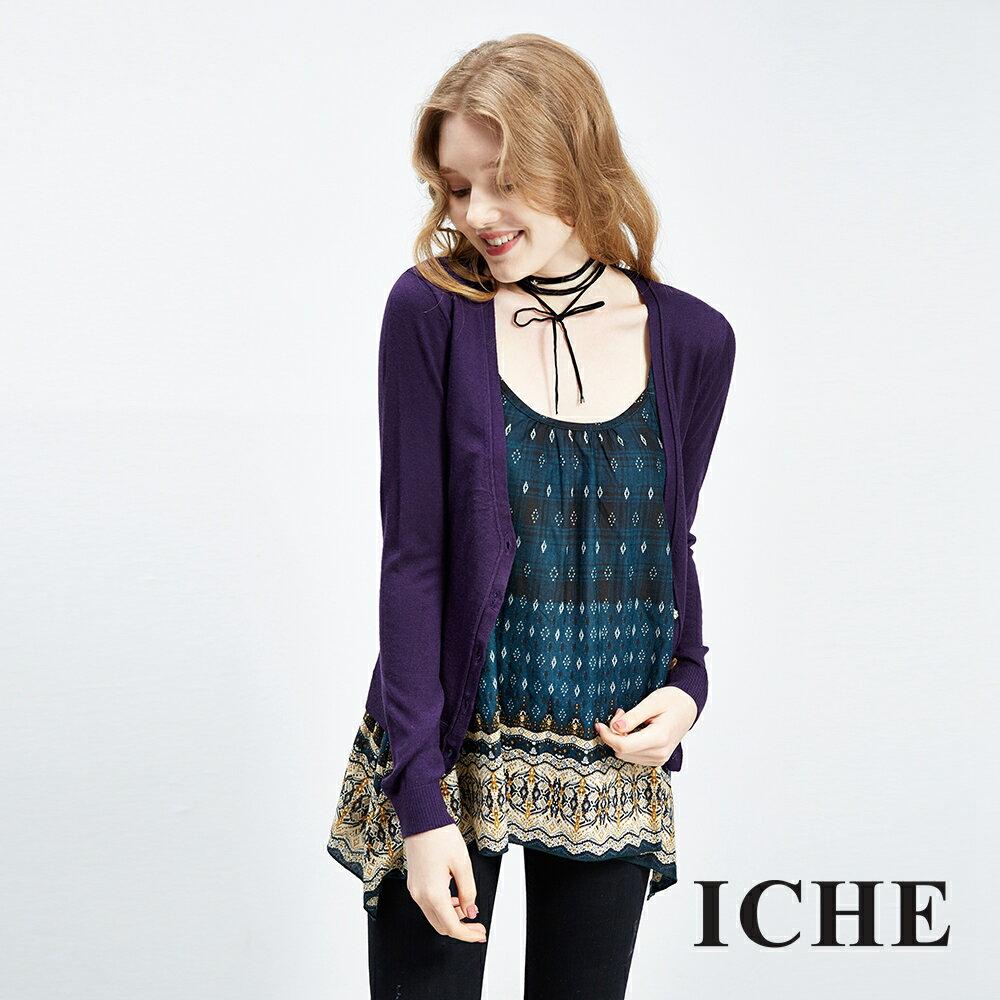 ICHE衣哲 羊毛輕暖純色針織外套 兩色