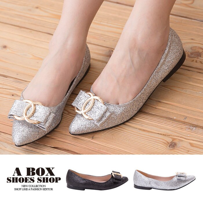 【AA902C】MIT台灣製 奢華金蔥金屬蝴蝶結 舒適柔軟乳膠墊 低粗跟尖頭包鞋 娃娃鞋 2色 0