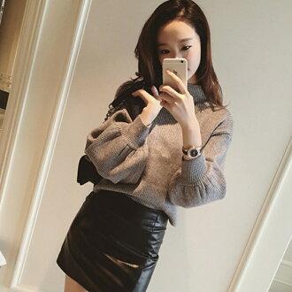 PS Mall 秋季半高領寬鬆公主袖套頭毛衣上衣【T2756】