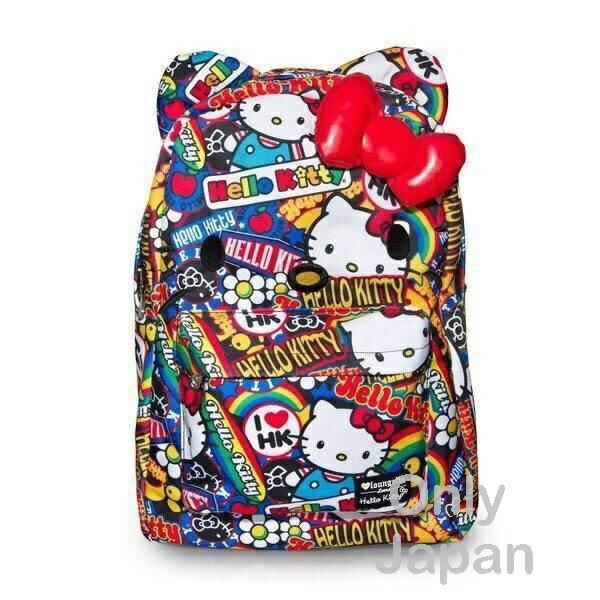 【真愛日本】16042700019LF聯名後背包-彩虹多圖  三麗鷗Hello Kitty凱蒂貓 後背包 背包 書包