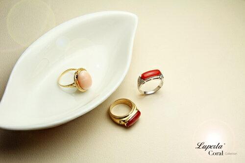 大東山珠寶 典藏 頂級深紅阿卡珊瑚真鑽14K白金戒指 2