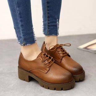 復古英倫仿舊厚底綁帶工作鞋騎士靴-黑/灰/棕35-38【a521493756899】