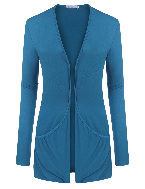 Women Long Sleeve Solid Cardigan Front Pocket Outwear 3
