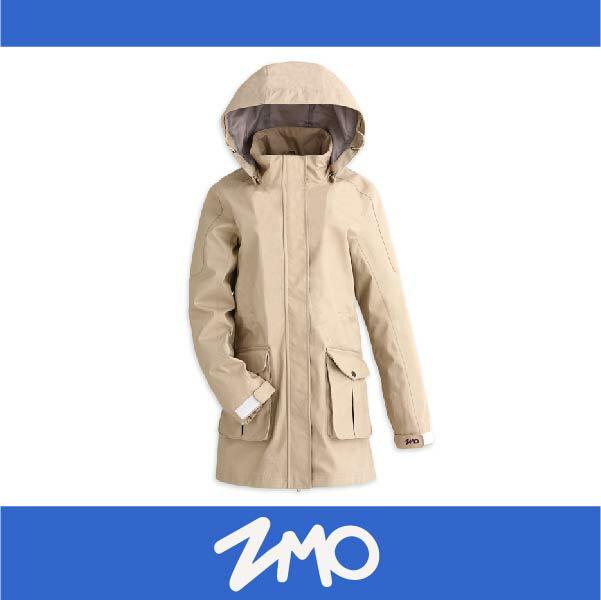 萬特戶外運動 ZMO JG360-OT 女防風雨風衣外套-長版大衣 防水 防風 米白色