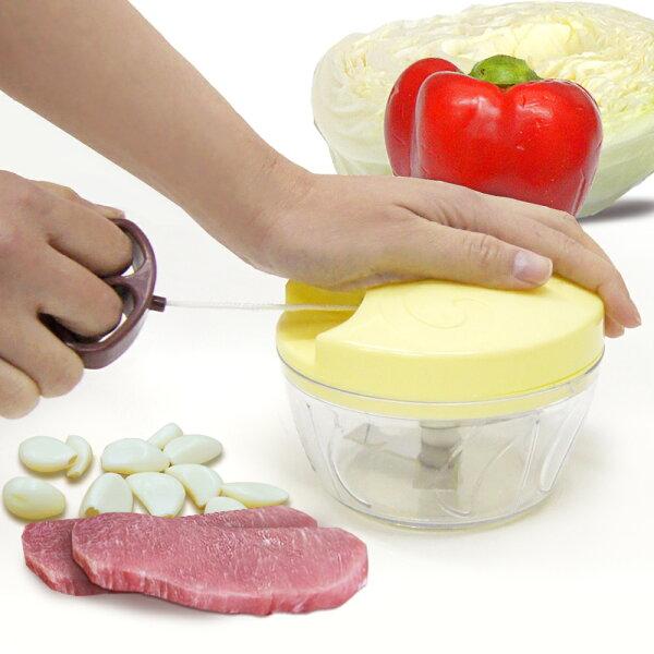WallyFun簡易手拉式切菜機-黃色(攪拌器碎肉機食物調理器)