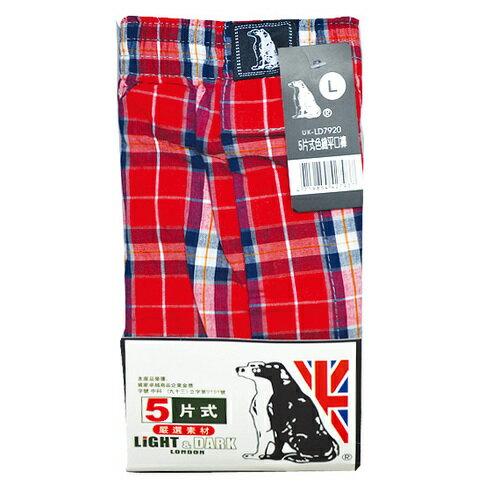 LiGHT&DARK 五片式色織平口褲(UK-LD7920) L 隨機