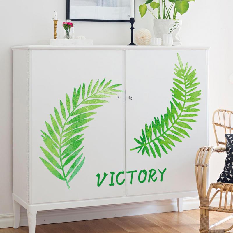 北歐INS風格墻貼紙創意臥室床頭裝飾溫馨墻紙自粘小清新綠葉貼畫1入