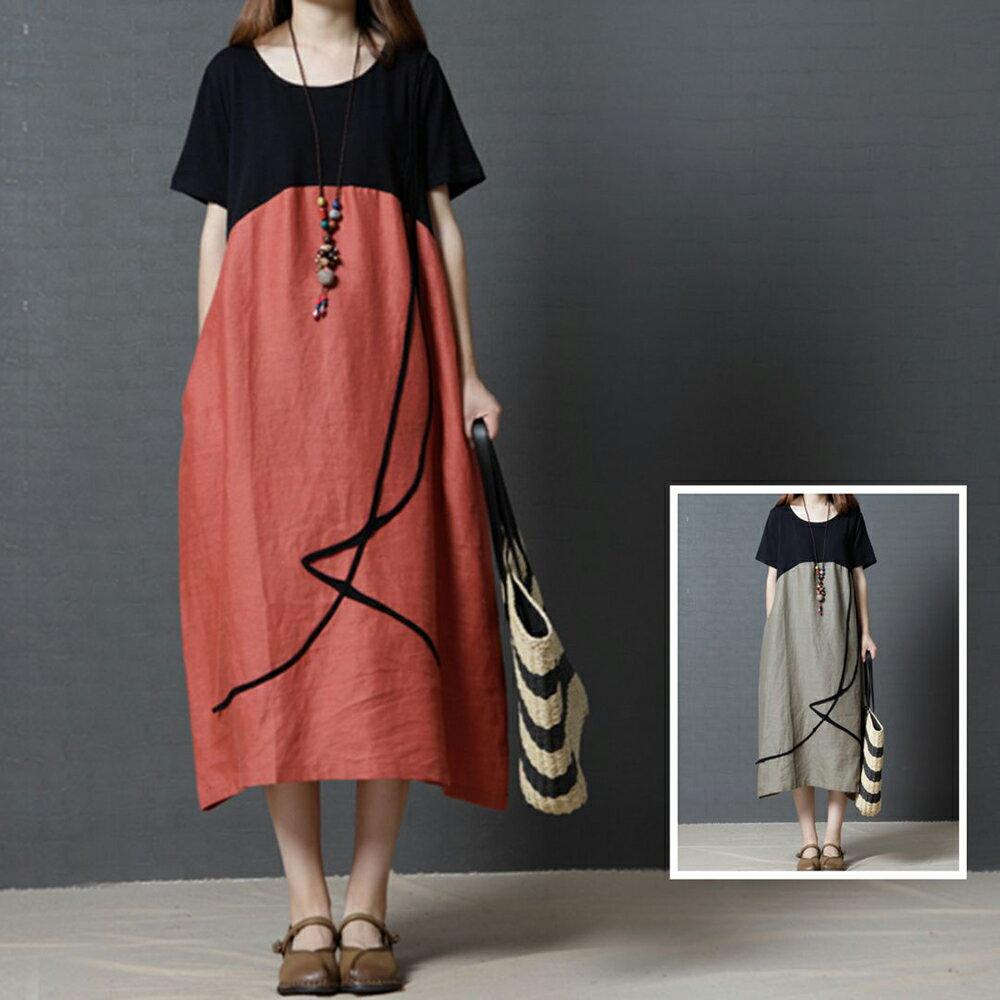 棉麻撞色圓領連身裙(2色M~2XL)【OREAD】 1