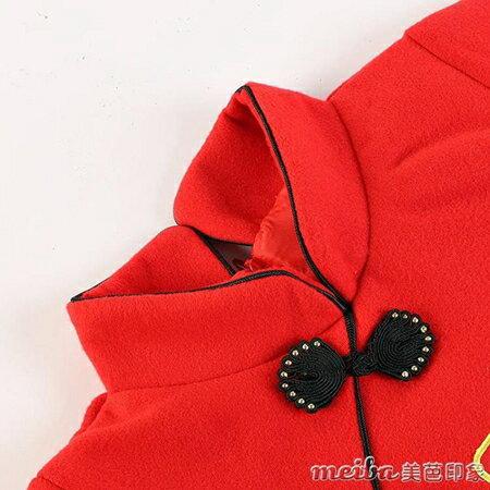 新年女童唐裝民族風冬季加厚寶寶中國風刺繡旗袍裙兒童修身連衣裙 藍嵐 居家生活節 1