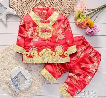 寶寶一周歲抓周唐裝女嬰兒百天紅色喜慶禮服男童春秋套裝兒童衣服 藍嵐 0