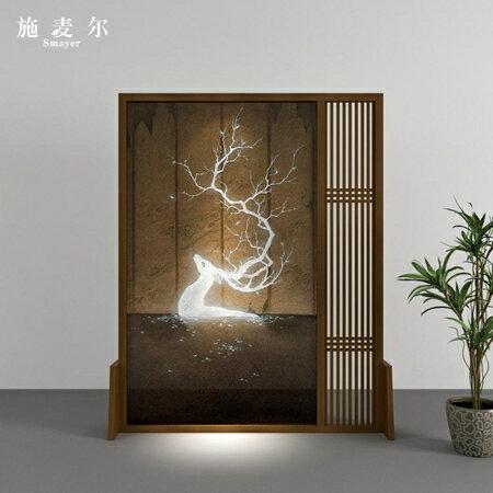 屏風 新中式實木隔斷客廳臥室入戶玄關北歐現代半透明紗畫裝飾座屏 母親節禮物