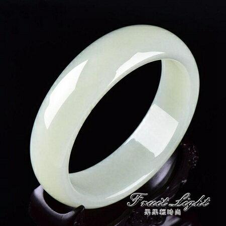 玉鐲 玉手鐲天然昆侖羊脂白玉玉鐲子女款帶 果果輕時尚 0