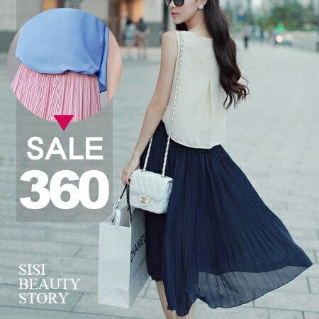 SISI~D6052~甜美公主撞色拼接縮腰顯瘦百褶背心連身裙無袖背心假兩件雪紡洋裝