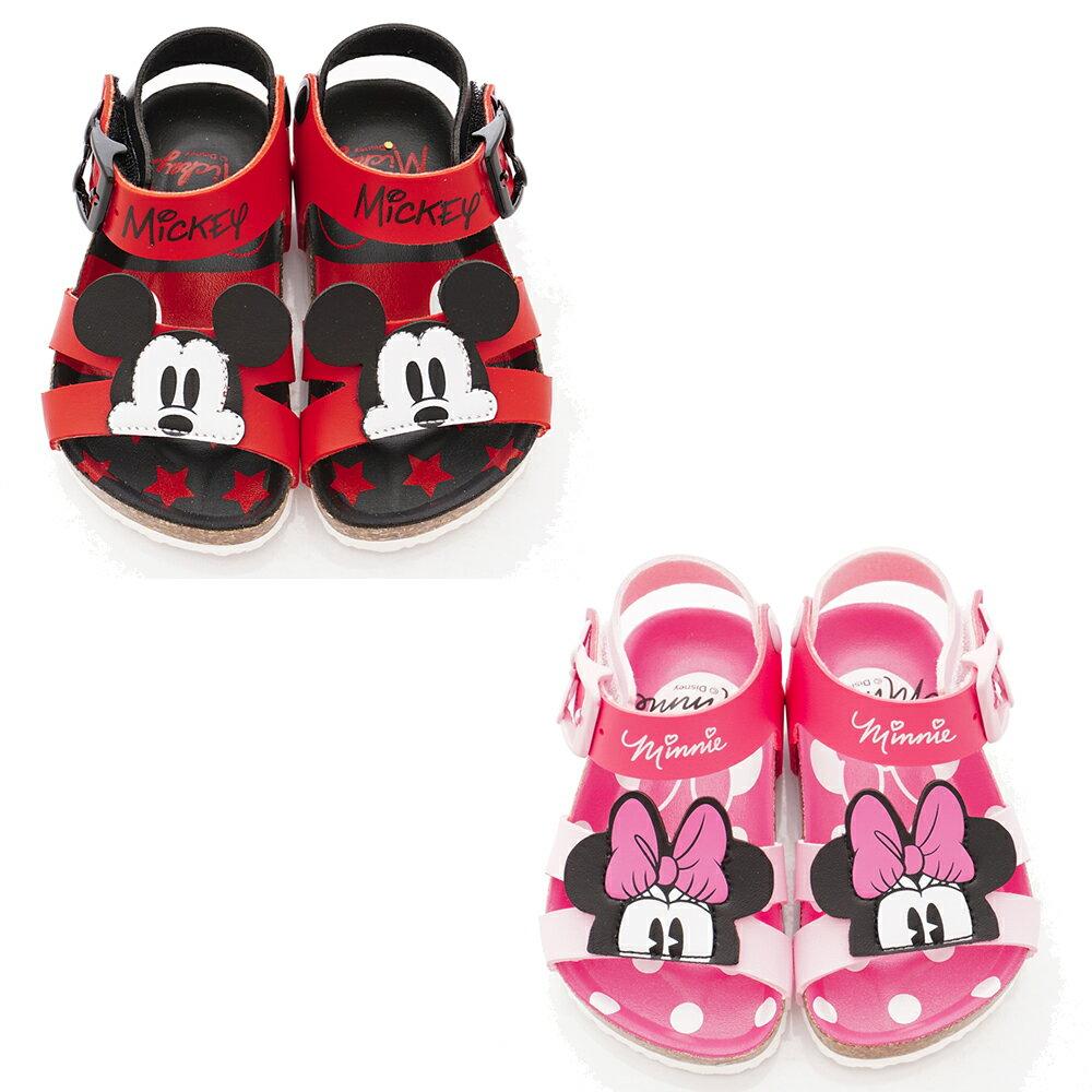 Disney迪士尼 夏日新品 米奇米妮勃肯涼鞋(黑紅/粉)119392/93