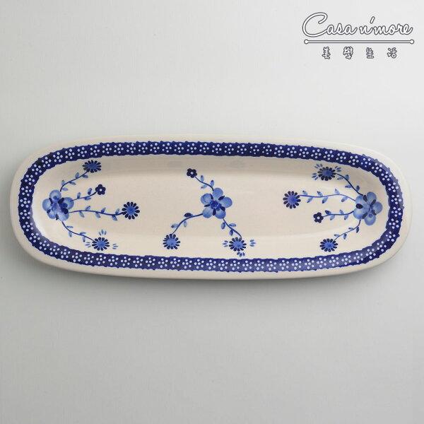 波蘭陶歐式青花系列長方形餐盤陶瓷盤菜盤托盤沙拉盤13X37cm波蘭手工製