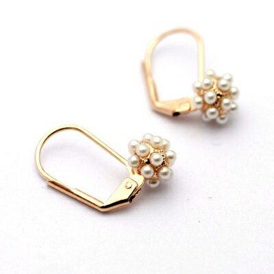 玫瑰金耳環925純銀珍珠耳飾~唯美氣質花球 生日情人節 女飾品73gs155~ ~~米蘭