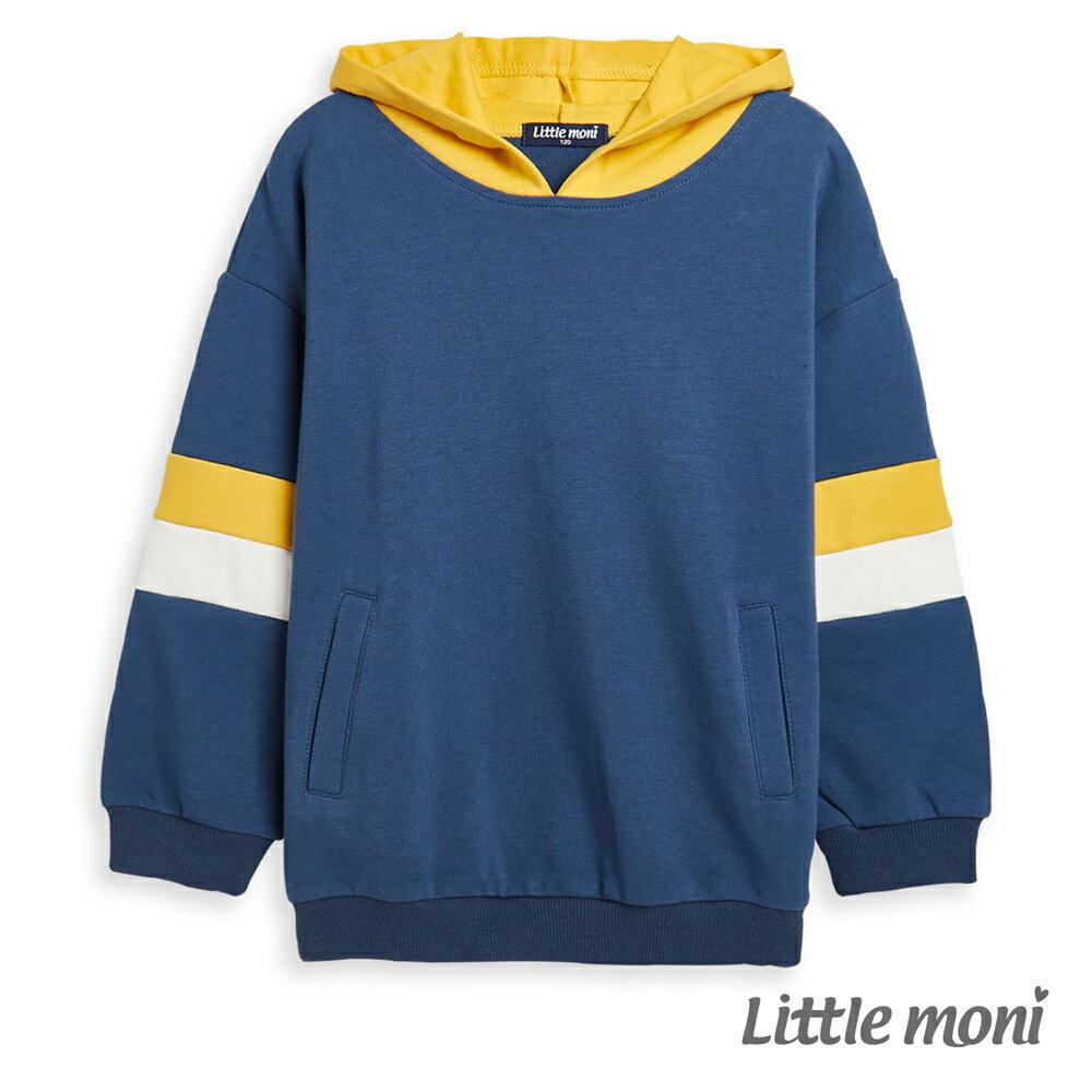 Little moni 連帽拼接上衣-深天藍(好窩生活節) 0