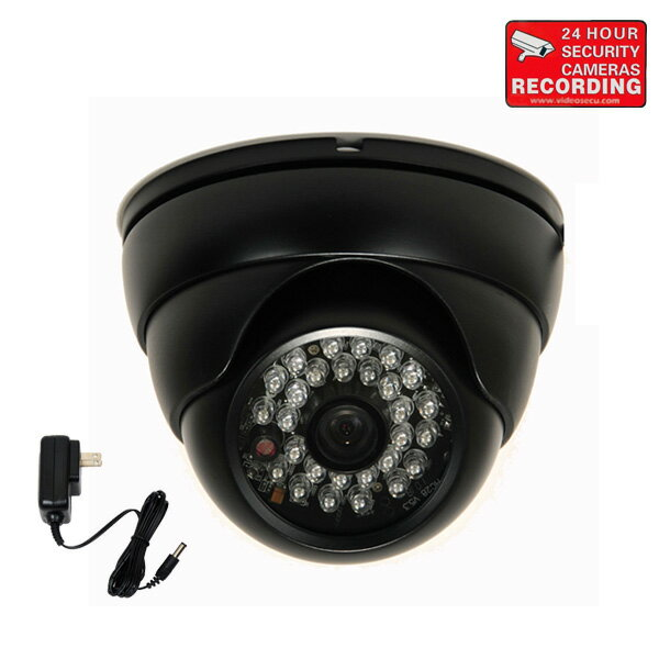 """VideoSecu 700TVL Vandal Proof IR Day Night Vision Outdoor Security Camera Built-in 1/3"""" Sony CCD EFFIO with Power Supply 1PA 0"""