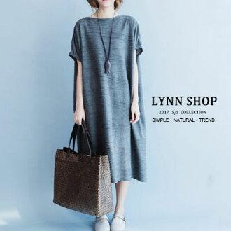 中大尺碼 簡約舒適線條感長版圓領上衣/連身裙【B-17-0013】LYNNSHOP