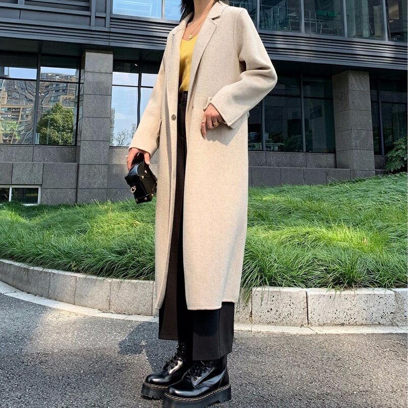 毛呢大衣羊毛外套-長版寬鬆簡約純色女外套3色73wb26【獨家進口】【米蘭精品】 2