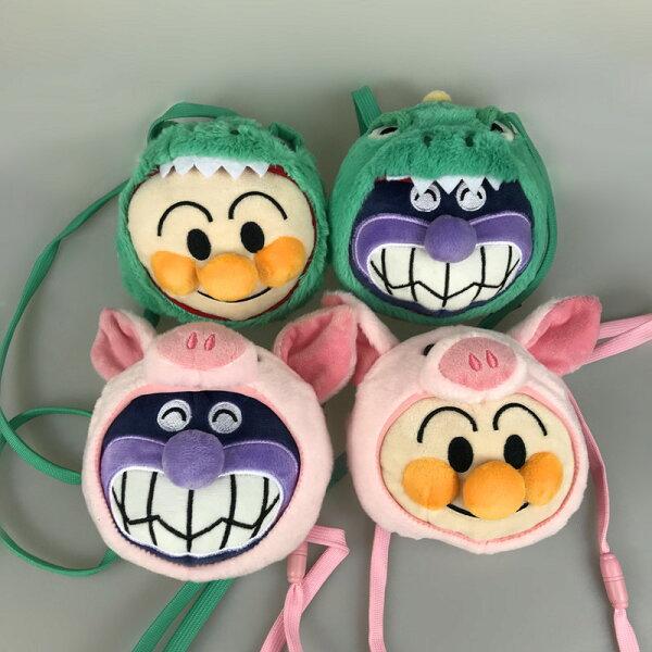 超可愛麵包超人細菌人裝扮小豬恐龍毛絨玩具斜背包卡套零钱包兒童背包