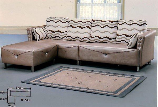 【尚品家具】684-04 普西米亞仿鱷魚皮四人+腳椅L型沙發~另有多款尺寸可選